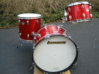 Ludwig Classic Down Beat Drum Set 20 12 14 Red Sparkle Blue Olive