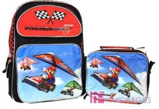 Mario Brothers Mario Kart 7 16 Large Backpack Lunch Bag Set