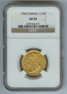 1786 A Gold France 1 Louis Dor Coin NGC About 58 Louis XVI