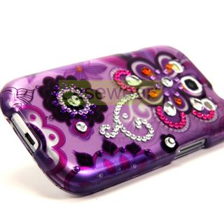 Luxmo Purple Daisy Gem Diamond Bling Hard Case Cover for Samsung