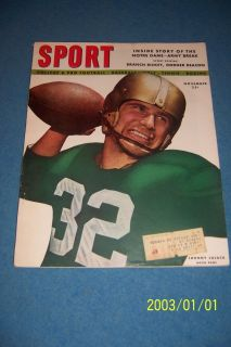Magazine NOTRE DAME Fighting Irish JOHNNY LUJACK Free Ship BABE RUTH