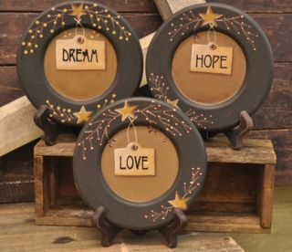 Love Hope Dream Primitive Country Wood Decorative Plates 6