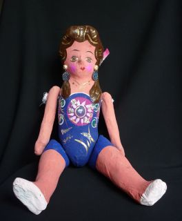Papier Mache Cardboard Lupita Doll Mexican Folk Art Mexico Handcraft