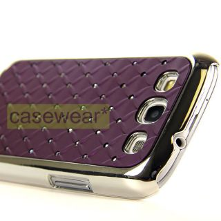 LUXMO PURPLE CHROME DELUXE BLING GEM CASE COVER FOR SAMSUNG GALAXY S 3