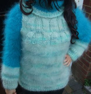 Luxurious Fuzzy Cable Turtleneck Mohair Sweater in  Turquoise Blue