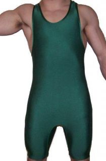 New Solid Green Wrestling Singlet Lycra Youth Boys Kids Mens All