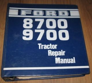 Ford 8700 9700 Tractor Repair Manual in Binder