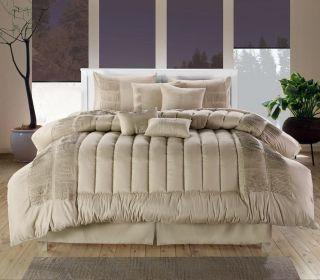 Discount 8PC Luxury Comforter Bed Skirt Bedding Set Beige