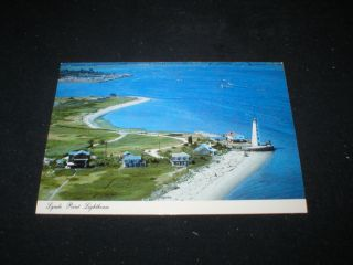 Lighthouse Postcard Lynde Point Light Fenwick Conn Unused