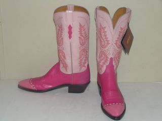 NEW LUCCHESE 1883 Cowboy Boots Ostrich Ital Goat Womens 10B Made USA