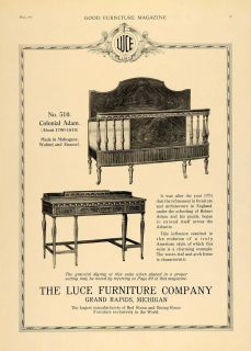 1919 Ad Luce Furniture Colonial Adam Wood Style Bed Set   ORIGINAL