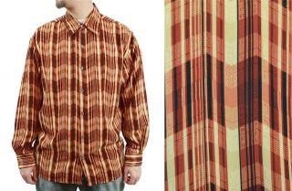 Vintage Mens Shirt Sz M Rust Brown Orange Geometric Striped Long