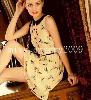Peter Pan Collar Cute Bird Prints Chiffon Dress XS s M L