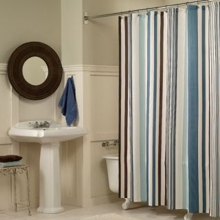 Flo Stripe Fabric Shower Curtain by M Style