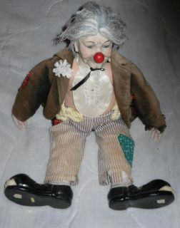Old Hobo Clown Porcelain Clay Ceramic Doll Sold as Is