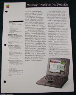 Apple Computer Macintosh PowerBook Duo 2300C Brochure C 1995 Mac