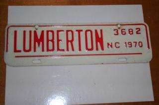 1970 North Carolina Lumberton City License Plate Topper Tag