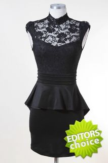 New Gorgeous Black Peplum Dress Black Lace Top Open Back Elegant Sexy