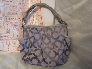 COACH Parker PURPLE Silver GREY OP Art Haze Hobo Purse Handbag Tote