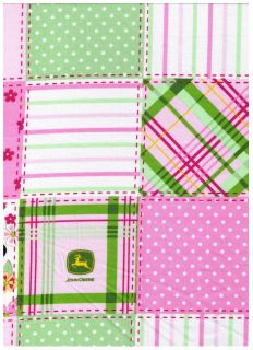 John Deere Pink Floral Madras Patch Plaid Fabric BTY