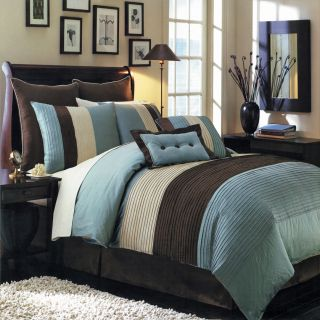 Royal Tradition Luxury Blue Brown Hudson 8PC Comforter Bedding Bed in