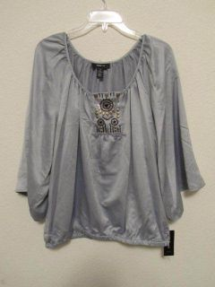 NWT  Style & Co womens blouse TOP shirt Gray sz 18 XL 2X NEW $46