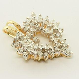 Magnificent 14K Yellow Gold Heart Shape Prong Set Diamond Cluster