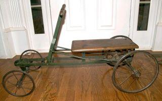 RARE Antique 1900s Irish Mail Car Cart Toy Wood Metal Original