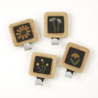 Primitive Wooden Black Eyed Susan Magnets with Hooks