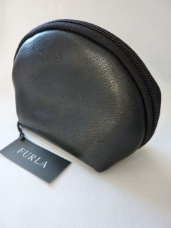 Furla Black Leather Makeup Case Made in Italy