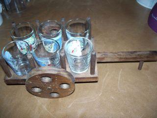 Malaga Spain Shot Glass Glasses Set of 6 in Wood Wagon
