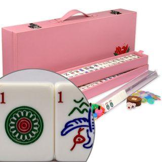 American Mahjong Mahjongg Mah Jongg Game 166 Set Wood Case Racks