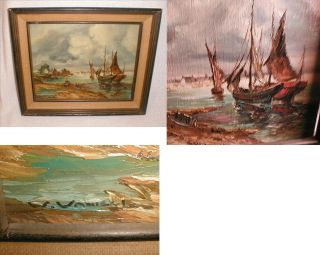 Old Signed painting Oil on Wood Board New England ? Ships In A Harbor