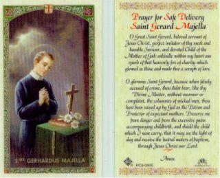 Prayer for Safe Delivery Saint Gerard Majella Holy Card