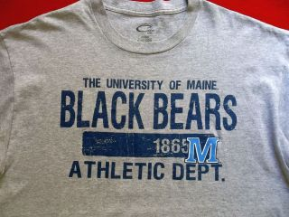 Mens U of MAINE T Shirt sz L athletic dept Black Bears college