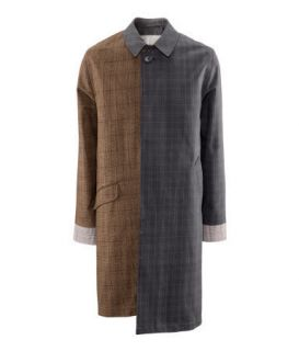 MAISON MARTIN MARGIELA H M DESIGNER RAIN COAT BROWN GREY CHECK LARGE