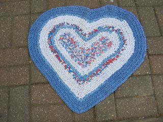 Vintage Braided Handmade Rag Rug 24 x 25 Red White Blue Heart Never