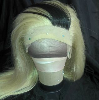 Manila Luzon blonde black stripe synthetic full lace wig heat safe