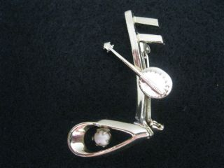 Mamselle Banjo Musical Note Gold Tone Brooch