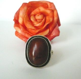 Antique Art Deco Caramel Amber Cabochon Ring Size 7 Made in Poland