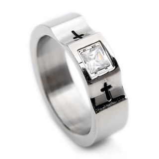 Crystal Cross Stainless Steel Mens Ring Size 9 10 11 12 R273