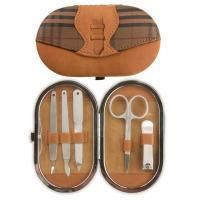 Manual Woodworkers Manicure Set Soft Touch Brown Plaid New in Box