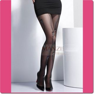 Manzi Quality Sheer Tights with Flower Vine Pattern H3