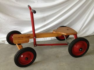 ANTIQUE WOOD METAL RADIO FLYER ROW CART IRISH MAIL 4 WHEEL BICYCLE