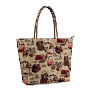 Marchand de Modes Tapestry Tote Bag with Cell Phone Pocket