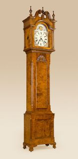 Grandfather Clock Antique Style Tiger Maple Wood Colonial Style Clock