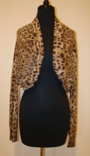 Leopard Cashmere Shrug Sweater Top L
