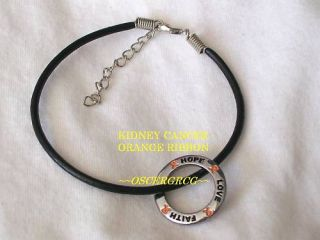 CANCER KIDNEY AWARENESS BRACELET ORANGE RIBBON CHARM HOPE FAITH LOVE