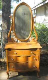 Gorgeous Birdseye Maple Serpentine Dresser Mirror