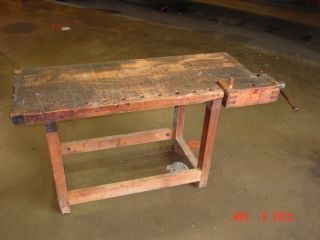 Antique Work Bench Solid Wood Maple Walnut Carpenters Table Buffet
